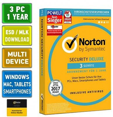 Norton Security 3.0 Deluxe 2017 3 PC Geräte Mac Android Tablet