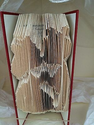 Book folding art  undecorated Teddy Bear Bride & Groom kissing folded book