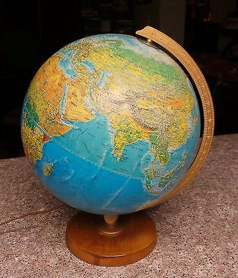 "Vintage REPLOGLE 12"" Light Up Globe Lamp World Horizon Series Wood Base"