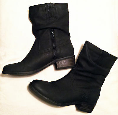 Black Next ladies soft leather ankle boots size 5. Worn Once.