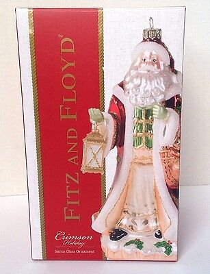 "Fitz and Floyd Crimson Holiday Santa Glass Ornament large size 8"" NEW"