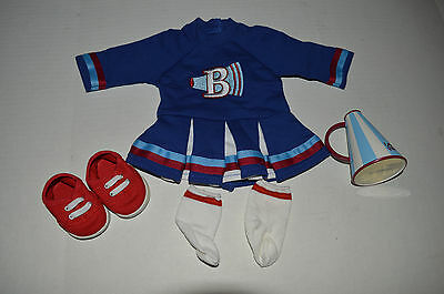 EUC American Girl Bitty Baby Twins Cheer Leader Outfit & Megaphone for Dolls
