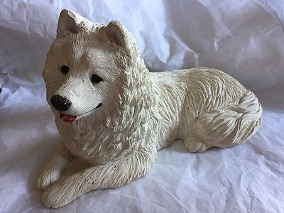 Sandicast Samoyed White Husky Dog Resin Figurine Signed by Sandra Brue