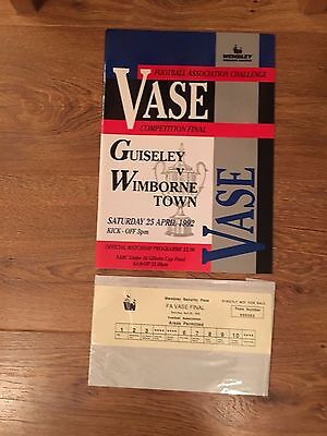 Guiseley v Wimborne Town, FA Vase Final 1992, with Security Pass