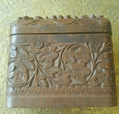 Unusual Anglo Indian Hinged Intricately Carved  Vintage Wooden Box