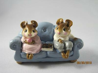 Wee Forest Folk First Date Blue Couch - Retired in 2004 - In WFF Box