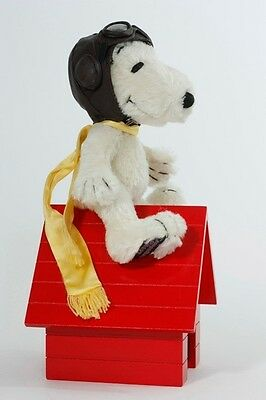 """8"""" SNOOPY FLYING ACE - Mohair, Jointed, Wood Doghouse & Aviator Hat! LtdEd. NEW!"""