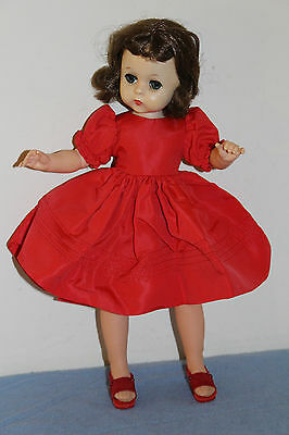 "VINTAGE MADAME ALEXANDER Tagged LISSY Red Dress #1151-1957 for 12"" doll EC"
