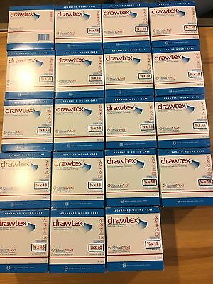 18 Boxes Drawtex with Levafiber Dressing 3/8 x 18 STRIPS (10 PACK) exp 11/2019