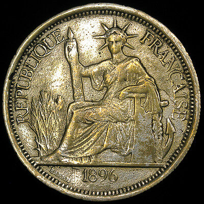 1896-A French Indo-China 1 Piastre silver