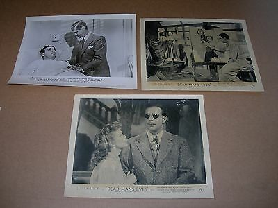 Front-of-house group DEAD MAN'S EYES UK Lobby cards c 1946 Lon Chaney