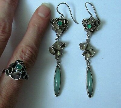Rare  Victorian Set Emeralds Earrings and ring Silver Sterling