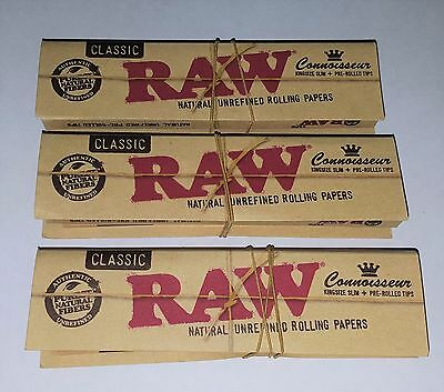 Raw Connoisseur CLASSIC W/ Pre-Rolled Tips/ King Size (3 Packs!) *Free Shipping*