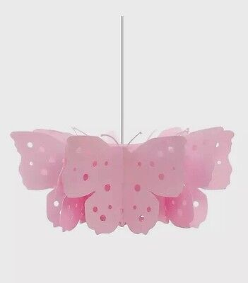 Kids Girls Pink Unicorn & Butterfly Themed Large Kids Bedroom Ceiling Light