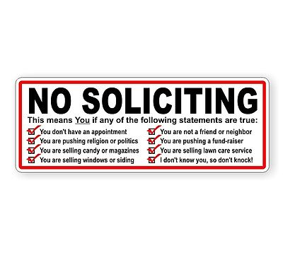 No Soliciting Vinyl Decal   Privacy Sticker   Window Label Sign Trespassing