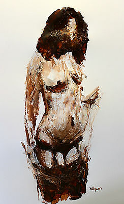 Original female nude model drawing study Terence Kelly Fine Art Signed