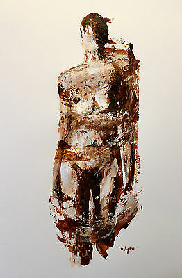 Original nude fine art drawing on paper signed Terence Kelly Fine Art