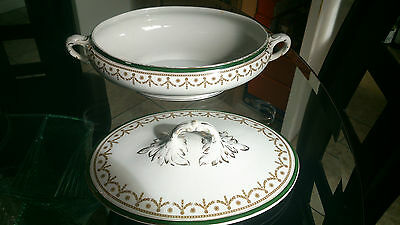 Thos Till & Sons Burslem England lidded Tureen in white with green and gold dec.