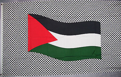 PALESTINE on Black & White FLAG 3X5' BANNER 90CM X 150CM