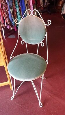 Antique Vintage Wrought Iron Vanity Chair - PAINTED WHITE WITH BLUE SEAT