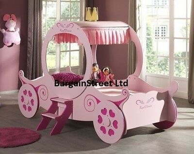 New Princess 3Ft Single Pink Carriage Bed Frame Childrens Kids Girls