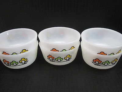 VTG Milk Glass Anchor Hocking Summerfield Lot of 6 Custard Bowls Ramekins USA