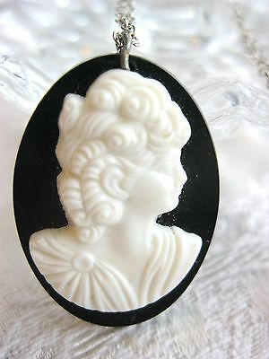 Vintage Black And White Early Plastic Layered Cameo Silhouette Necklace Pendant
