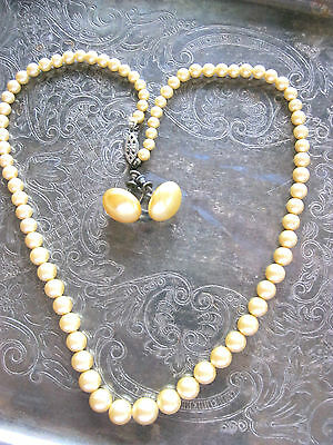 Antique Vintage Pearl Necklace Earring Set Sterling Clasp Hardware Golden Ivory