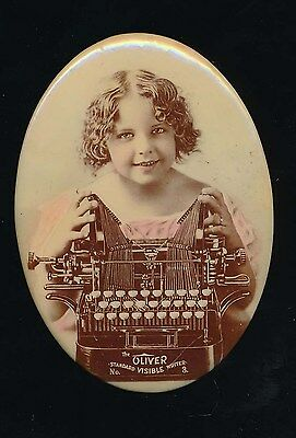 OLIVER TYPEWRITERS Antique Tinted Oval Pocket Mirror Cute Girl EXCELLENT