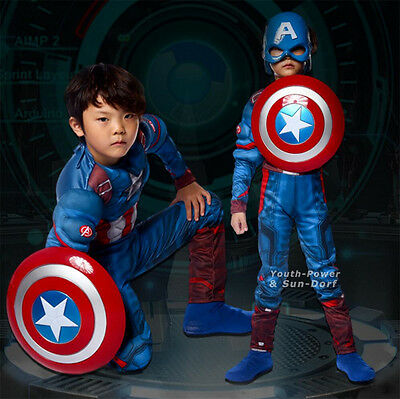 Captain America Kids Cosplay Costume Super Hero Jumpsuit / Shield / Mask / Socks