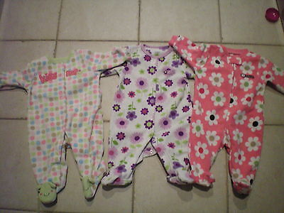 Lot of 3 Baby Girls Footed Pajama Sleeper Carters Size 3 months