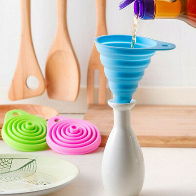 Home Stretch Collapsible Silicone Folding Funnel Kitchen Liquid Oil Leak