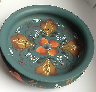 SCANDINAVIAN ROSEMALING PAINTED PLATE  Norway BOWL WOOD FOLK ART Norwegian