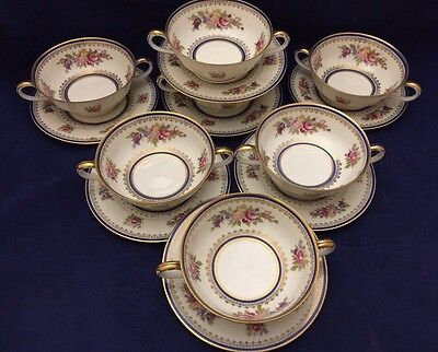 Set of 7 Vtg. H & C Bohemia Czechoslovakia Cream Soup Bowls & Saucers Ovington's