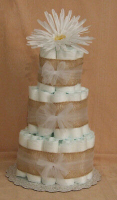 3 Tier Diaper Cake Burlap & Tulle You Pick the Color  Baby Shower Centerpiece