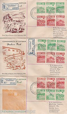 3 X 1953 Food Produce On Standard Stamp Co  See Description