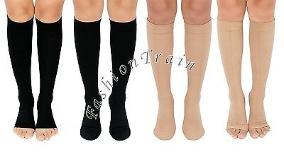Open/Closed Toe Medical Compression Stockings Knee High Leg Relief Support Socks