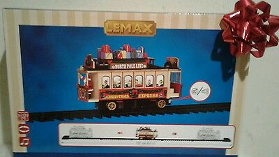 New Lemax Sights & Sounds SANTA'S CABLE CAR North Pole Christmas Trolley