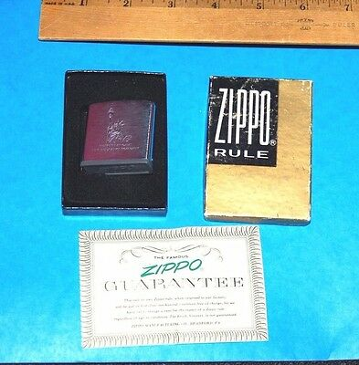 Vintage Zippo Tape Ruler Measure Liberty National Life Ins With Box & Guarantee