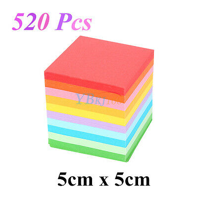 520Pcs Square Folding Lucky Sheets Mixed Color Double Sided Origami Paper Crafts