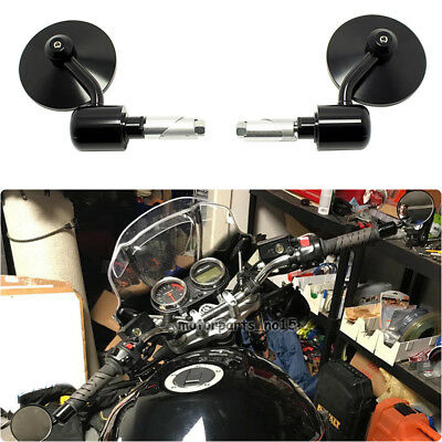 "Black Motorcycle CNC Aluminum Round Rearview Handle Bar End 7/8"" Side Mirrors UK"