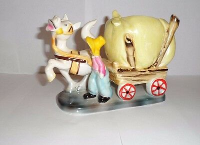 Vintage Wagon with a Donkey Porcelain Ceramic Collectible Figurine