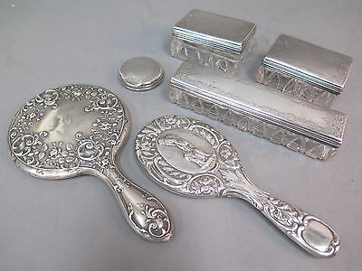 Antique Thomas Daniel Sterling Silver & Glass Vanity Set Boxes, Mirrors, Brushes