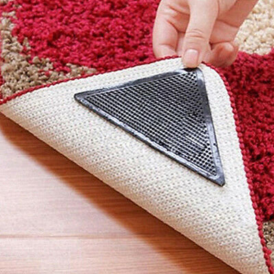 Rug Carpet Mat Reusable Washable Grippers Non Slip Anti Skid 4 Pairs First-Rate