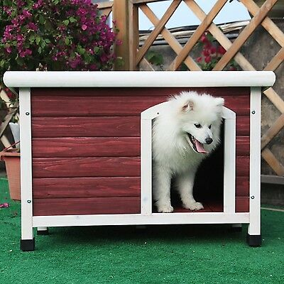 Petsfit Insulated Wooden Dog Kennel with Removable Floor for Easy Cleaning Re...