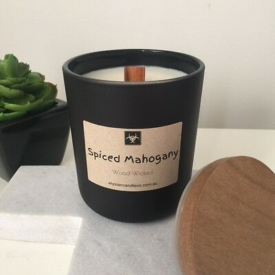 Man Candle - Natural Soy Candle 70hr - Wood Wick - Combined Postage