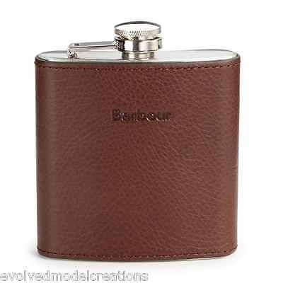 NEW Barbour Brown Leather Hip Flask Alcohol