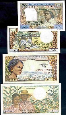 Malagasy Republic. Four Notes, 50 to 1,000 Francs, (1964-1969).