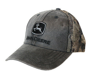John Deere Waxed Cotton Charcoal With Camouflage Mesh Back Cap Nwt