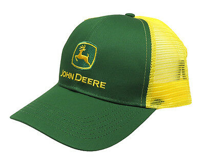 John Deere Logo Cap Green With Yellow Mesh Back New